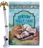 Seaside Shells - Nautical Coastal Vertical Impressions Decorative Flags HG107005 Made In USA