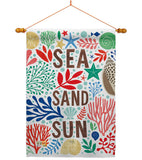 Sea Sand Sun - Nautical Coastal Vertical Impressions Decorative Flags HG107065 Made In USA