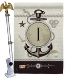 Nautical I Initial - Nautical Coastal Vertical Impressions Decorative Flags HG130191 Made In USA