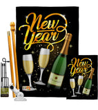 Cheers To Happy New Year - New Year Winter Vertical Impressions Decorative Flags HG116012 Made In USA