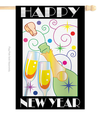 Happy New Year - New Year Winter Vertical Applique Decorative Flags HG116007