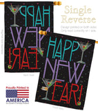 New Year Martini - New Year Winter Vertical Impressions Decorative Flags HG116009 Made In USA