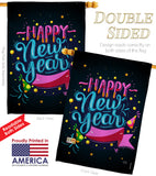 Popping Happy New Year - New Year Winter Vertical Impressions Decorative Flags HG116010 Made In USA
