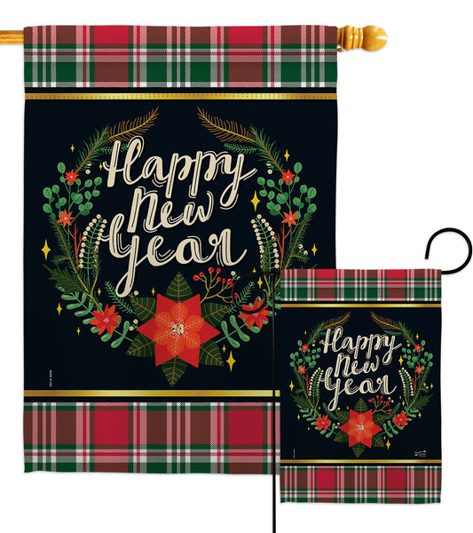 Winter New Year - New Year Winter Vertical Impressions Decorative Flags HG137222 Made In USA