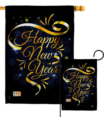Gold Happy New Year - New Year Winter Vertical Impressions Decorative Flags HG192047 Made In USA