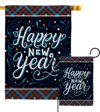 Bring New Year - New Year Winter Vertical Impressions Decorative Flags HG192238 Made In USA
