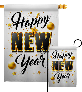 Happy New Year - New Year Winter Vertical Impressions Decorative Flags HG192295 Made In USA
