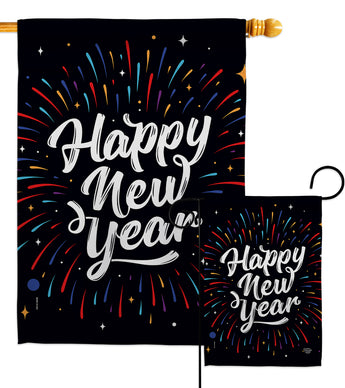 Happy New Year - New Year Winter Vertical Impressions Decorative Flags HG192330 Made In USA