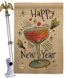 Cheers Happy New Year - New Year Winter Vertical Impressions Decorative Flags HG137120 Made In USA