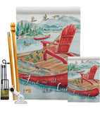 Find Me At The Lake - Outdoor Nature Vertical Impressions Decorative Flags HG109069 Made In USA