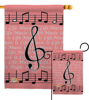 Music is Life - Party & Celebration Special Occasion Vertical Impressions Decorative Flags HG115082 Made In USA