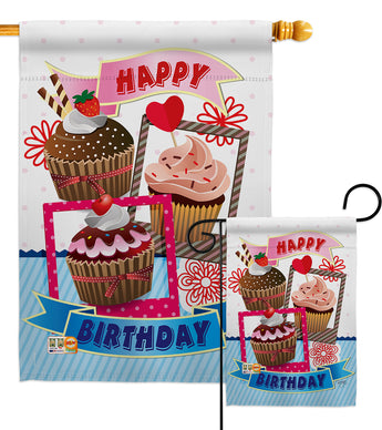 Birthday Cupcake - Party & Celebration Special Occasion Vertical Impressions Decorative Flags HG115096 Made In USA