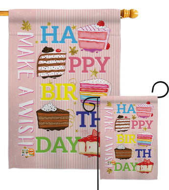 Make a Wish - Party & Celebration Special Occasion Vertical Impressions Decorative Flags HG115114 Made In USA