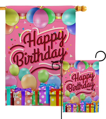 Celebrate Happy Birthday - Party & Celebration Special Occasion Vertical Impressions Decorative Flags HG115133 Made In USA