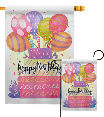 Happy Birthday Balloon - Party & Celebration Special Occasion Vertical Impressions Decorative Flags HG115182 Made In USA