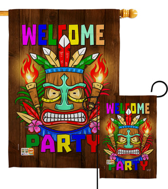 Welcome Tiki Party - Party & Celebration Special Occasion Vertical Impressions Decorative Flags HG137062 Made In USA