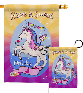 Unicorn Sweet Birthday - Party & Celebration Special Occasion Vertical Impressions Decorative Flags HG137164 Made In USA