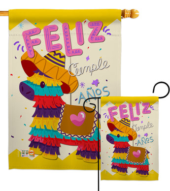 Feliz Cumpleaños - Party & Celebration Special Occasion Vertical Impressions Decorative Flags HG137194 Made In USA