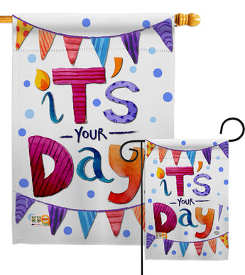 It's Your Day - Party & Celebration Special Occasion Vertical Impressions Decorative Flags HG192169 Made In USA