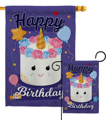 Unicorn Birthday Cake - Party & Celebration Special Occasion Vertical Impressions Decorative Flags HG192171 Made In USA