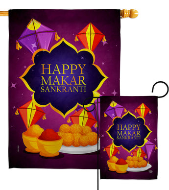 Happy Makar Sankranti - Party & Celebration Special Occasion Vertical Impressions Decorative Flags HG192593 Made In USA