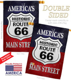 Route 66 - Patriotic Americana Vertical Impressions Decorative Flags HG111059 Made In USA