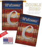 Patriotic C Initial - Patriotic Americana Vertical Impressions Decorative Flags HG130107 Made In USA