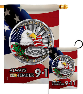 Always Remember - Patriotic Americana Vertical Impressions Decorative Flags HG111063 Made In USA