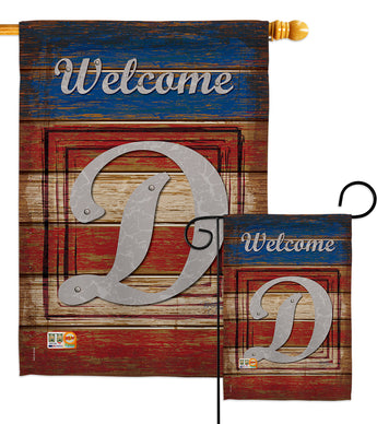 Patriotic D Initial - Patriotic Americana Vertical Impressions Decorative Flags HG130108 Made In USA