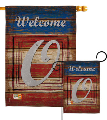 Patriotic O Initial - Patriotic Americana Vertical Impressions Decorative Flags HG130119 Made In USA