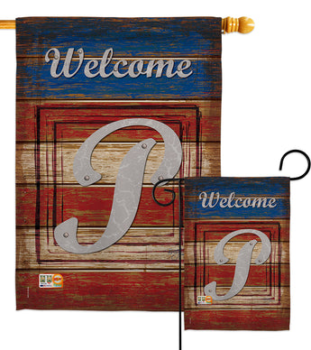 Patriotic P Initial - Patriotic Americana Vertical Impressions Decorative Flags HG130120 Made In USA