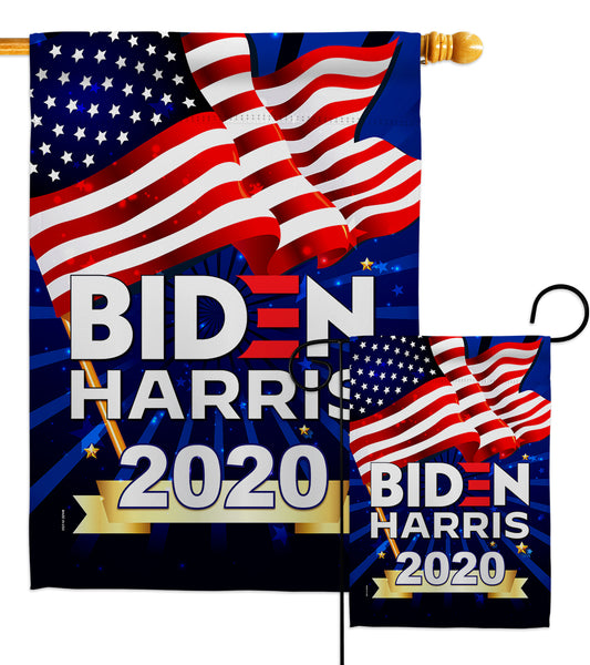 Biden Harris 2020 - Patriotic Americana Vertical Impressions Decorative Flags HG170086 Made In USA
