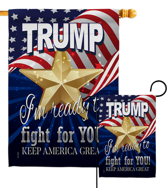 Trump Fight For You - Patriotic Americana Vertical Impressions Decorative Flags HG170132 Made In USA