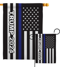 Trump 2024 Thin Blue Line - Patriotic Americana Vertical Impressions Decorative Flags HG170182 Made In USA