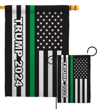 Trump 2024 Thin Green Line - Patriotic Americana Vertical Impressions Decorative Flags HG170183 Made In USA