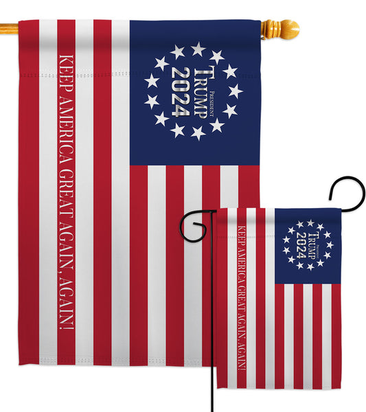 Keep America Great Again 2024 - Patriotic Americana Vertical Impressions Decorative Flags HG170186 Made In USA