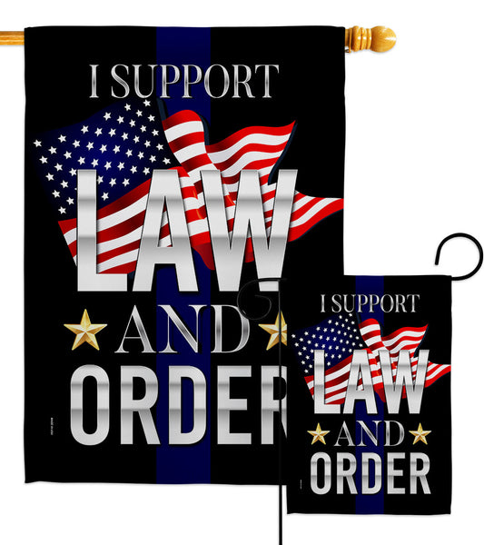 Support Law and Order - Patriotic Americana Vertical Impressions Decorative Flags HG170187 Made In USA