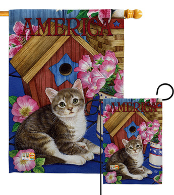 America Proud Kitten Cat - Patriotic Americana Vertical Impressions Decorative Flags HG191215 Made In USA