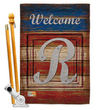 Patriotic R Initial - Patriotic Americana Vertical Impressions Decorative Flags HG130122 Made In USA