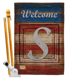 Patriotic S Initial - Patriotic Americana Vertical Impressions Decorative Flags HG130123 Made In USA