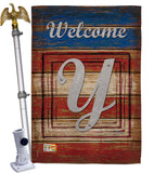 Patriotic Y Initial - Patriotic Americana Vertical Impressions Decorative Flags HG130129 Made In USA