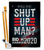 Will you Shut Up - Patriotic Americana Vertical Impressions Decorative Flags HG170149 Made In USA
