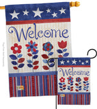 Welcome Patriotic - Patriotic Americana Vertical Impressions Decorative Flags HG111056 Made In USA