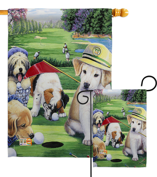 Golfing Puppies - Pets Nature Vertical Impressions Decorative Flags HG110082 Made In USA