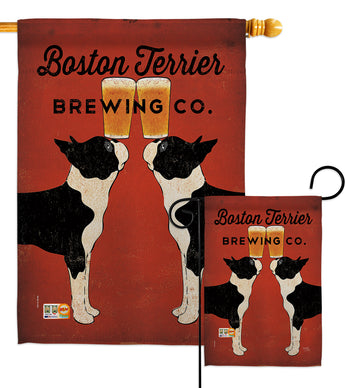 Boston Terrier Brewing - Pets Nature Vertical Impressions Decorative Flags HG110117 Made In USA