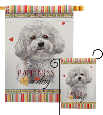 Bichon Frise Happiness - Pets Nature Vertical Impressions Decorative Flags HG110184 Made In USA