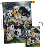 Bath Time Pups - Pets Nature Vertical Impressions Decorative Flags HG110046 Made In USA