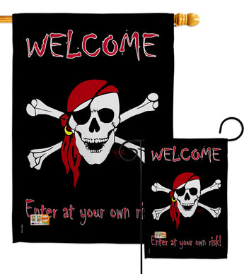 Enter at your own risk - Pirate Coastal Vertical Impressions Decorative Flags HG107045 Made In USA