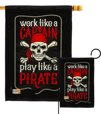 Play Like a Priate - Pirate Coastal Vertical Impressions Decorative Flags HG137074 Made In USA