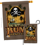 You Better Rum & Get It - Pirate Coastal Vertical Impressions Decorative Flags HG107029 Made In USA